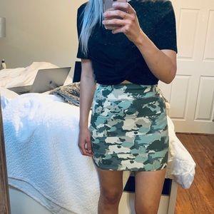 Talula Green Camouflage Bodycon Bandage Mini Skirt
